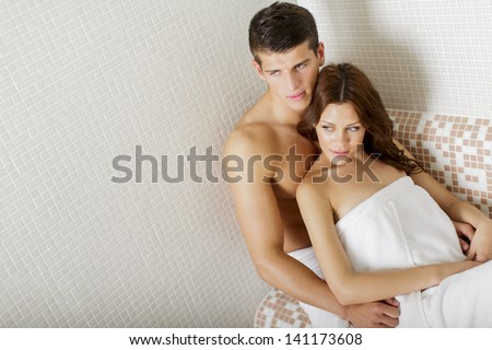 Couple in the spa - stock photo