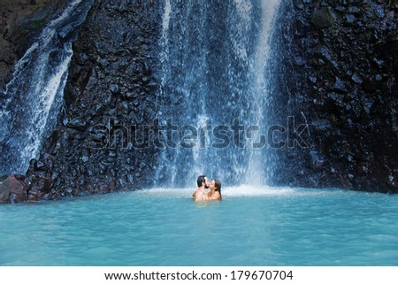 couple in the wild - stock photo