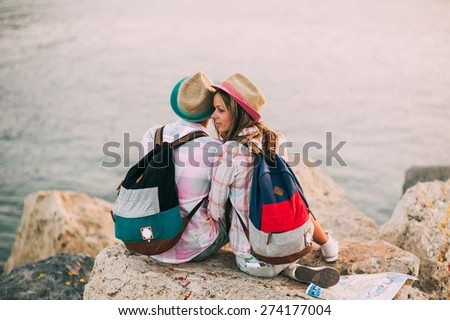 couple in vacation on Greece - stock photo