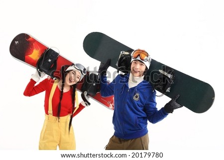 Couple in Winter Sports - stock photo