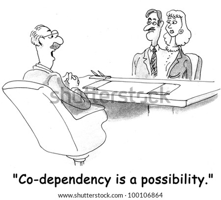 """Couple is so co-dependent that they have become one person.  Their therapist says, """"Co-dependency is a possibility"""". - stock photo"""