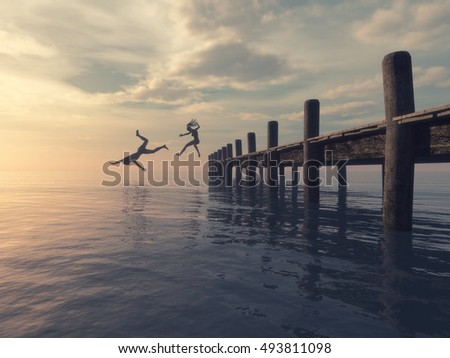 Couple jumping together from the pontoon to ocean.  This is a 3d render illustration