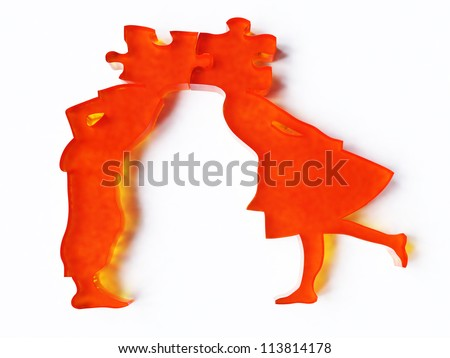 Couple kissing 3-dimensional image - stock photo