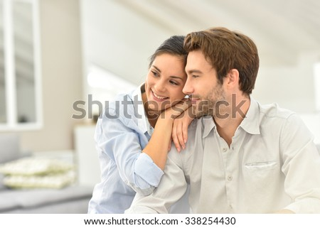 Couple looking together towards the future - stock photo