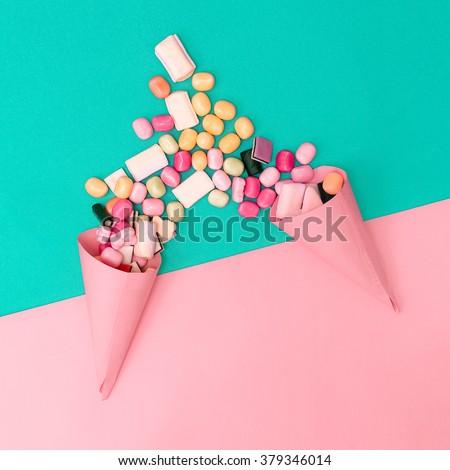 Couple Loves Sweets. Fashion style Minimalism - stock photo