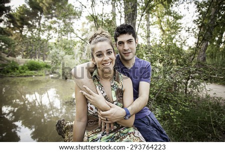 Couple loving each other in nature park, love