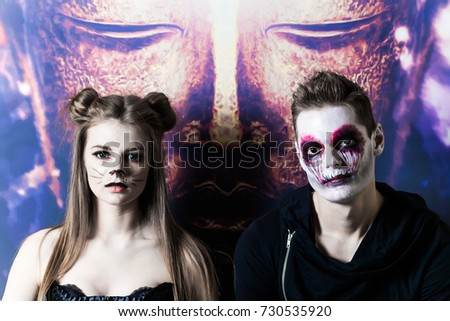 couple makeup halloween woman cat male zombie  sc 1 st  Shutterstock & Couple Makeup Halloween Woman Cat Male Stock Photo (Edit Now ...