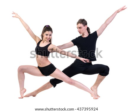 couple man and woman exercising fitness dancing on white background - stock photo