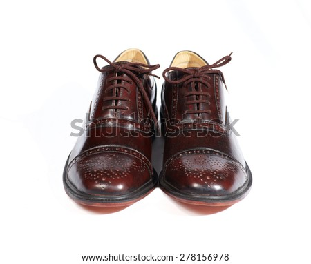 Couple men leather classic style shoes on white background - stock photo