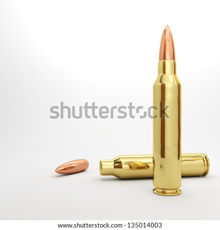 Couple 5.56mm rifle bullets spread out.