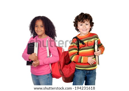 Couple of adorable students isolated on a white background - stock photo