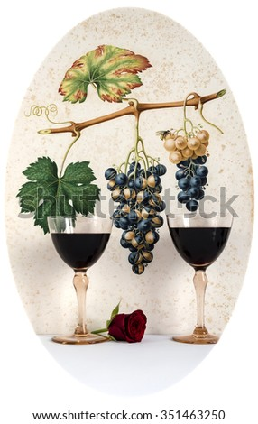 couple of antique glasses of red wine background grape cluster decorated, romantic moment with red  rose,cutout photo,  natural light, vertical photo - stock photo
