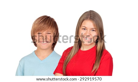 Couple of brothers isolated on a white background