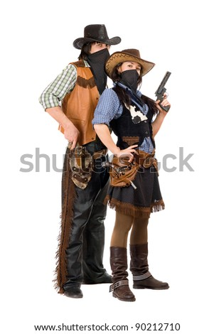 Couple of burglars in cowboy costumes. Isolated on white - stock photo