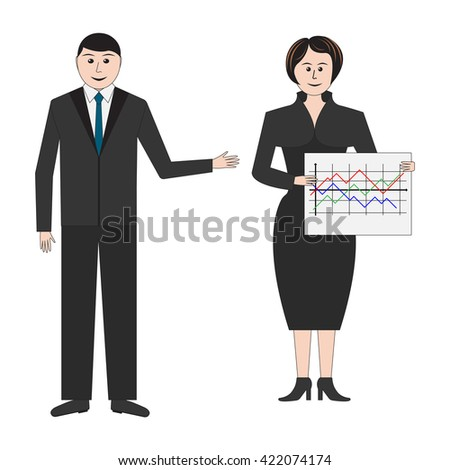 Couple of business people in formal suits on presentation of business products. Isolated background. - stock photo