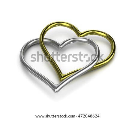 Couple of Chained Heart Shaped Golden and Silver Rings on White Background 3D Illustration