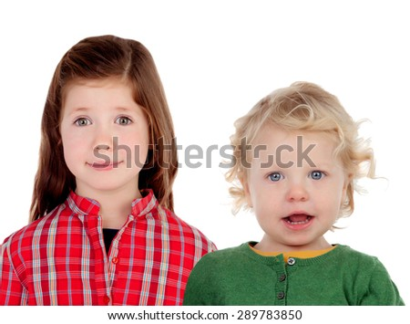 Couple of children. Brother and sister isolated on a white background