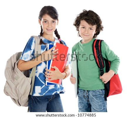 Couple of children students a over white background - stock photo