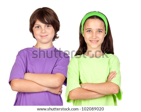 Couple of children with crossed arms isolated on white background - stock photo