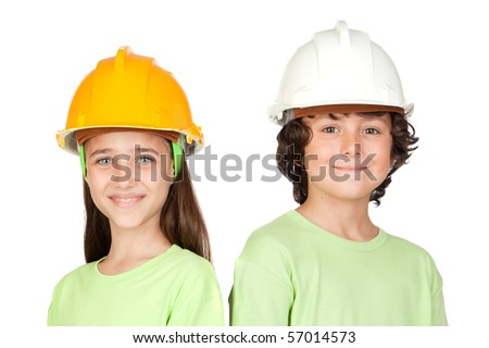 Couple of children with helmet isolated on white background - stock photo