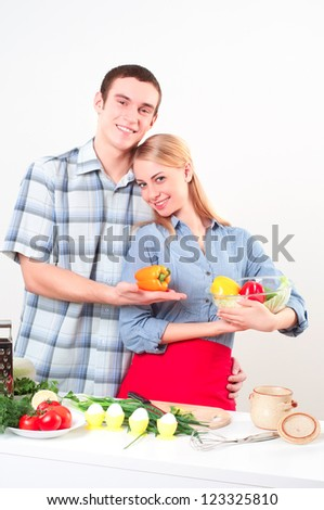 couple of cooking together, have fun time - stock photo