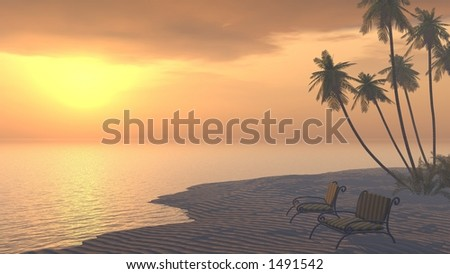 couple of deckchairs on a tropical beach at sunset - stock photo