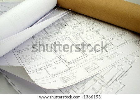 Couple of designs rolled and put on each other - stock photo