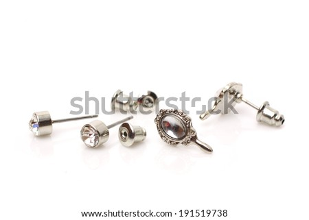 couple of diamond earrings  - stock photo
