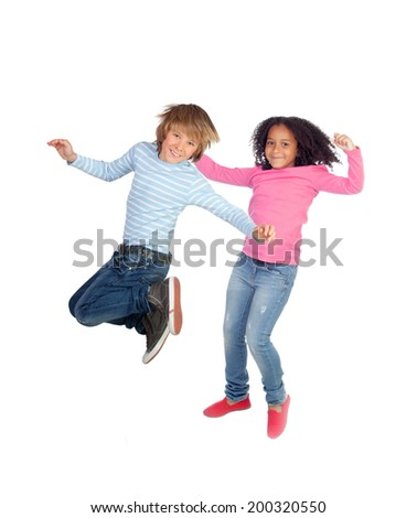 Couple of different children jumping isolated on a white background - stock photo