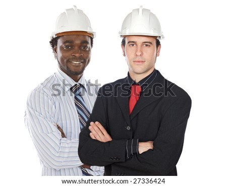 Couple of engineers on a over white background