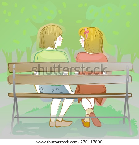 couple of friendly kids sitting and chatting on a park bench - stock photo
