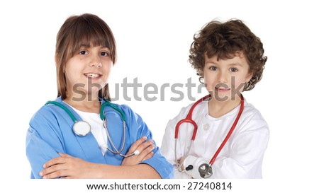 Couple of future doctors a over white background