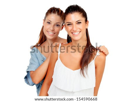 Couple of girlfriends isolated on white background - stock photo