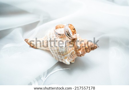 couple of gold wedding rings - stock photo