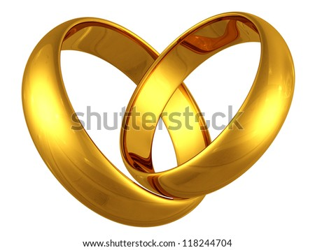 couple of gold wedding rings in heart shape on white background - stock photo