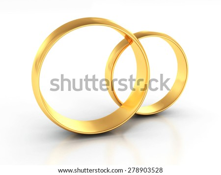 Couple Of Gold Wedding Rings On White Background. 3d Render Illustration - stock photo