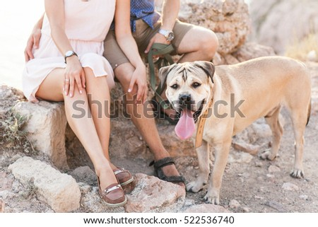 Couple of guys playing with their dog on the mountain near ocean. Romantic time in nature with beautiful view.
