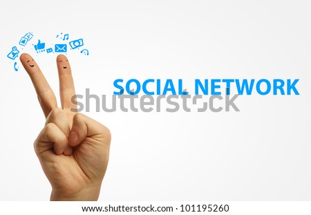 Couple of happy fingers smileys. Happy group of finger smileys with social chat sign and speech bubbles,icons. Fingers representing a social network. - stock photo