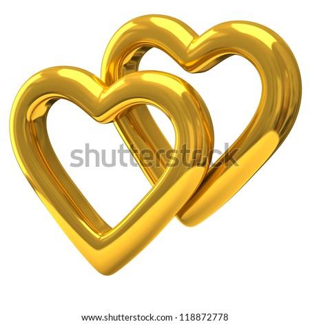 Couple of heart shaped rings 3d - stock photo