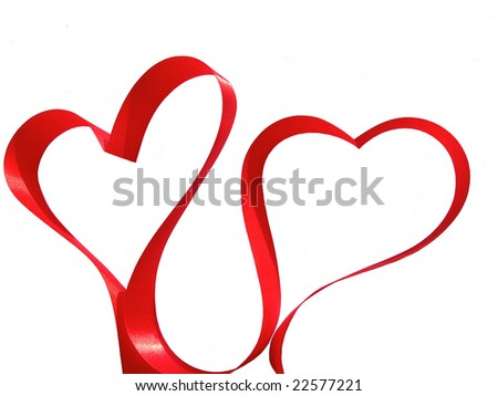 Couple of hearts made from red silky ribbon