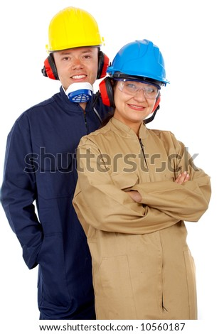 couple of industrial workers isolated over a white background - stock photo