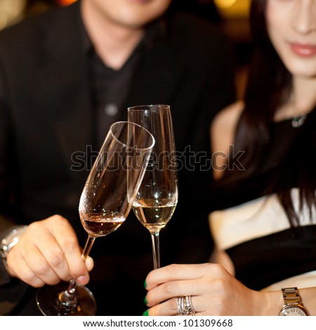 couple of lover cheering - stock photo