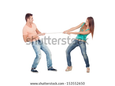 Couple of lovers pulling a rope isolated on a white background - stock photo