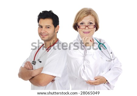 Couple of medical team a over white background