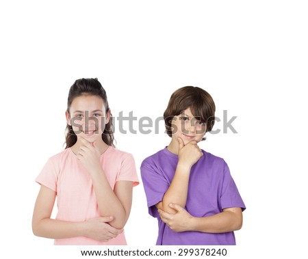 Couple of pensive children isolated on a white background - stock photo