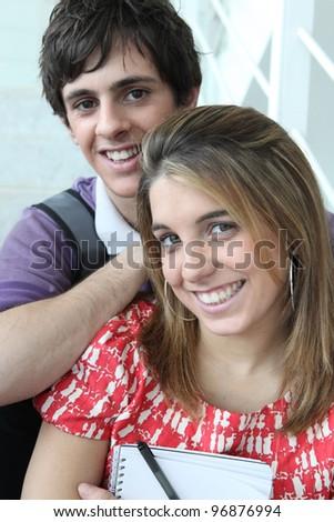 Couple of students - stock photo