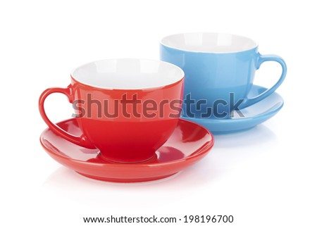 Couple of tea cups. Isolated on white background - stock photo