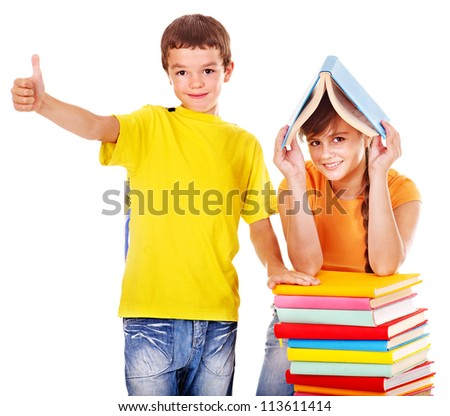 Couple of teen school child with book.  Isolated.