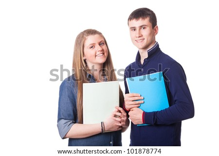 Couple of Teenage Students on White