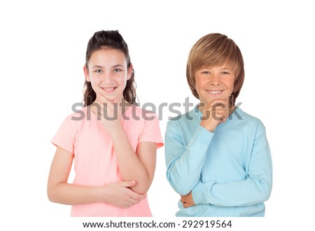 Couple of teenagers thinking isolated on a white background